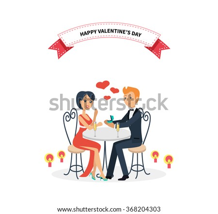 Happy valentine day couple sitting at table. Couple lover on valentine day, happy valentine, couple in love, young couple, love happy couple, woman man restaurant, holiday valentine day illustration - stock vector