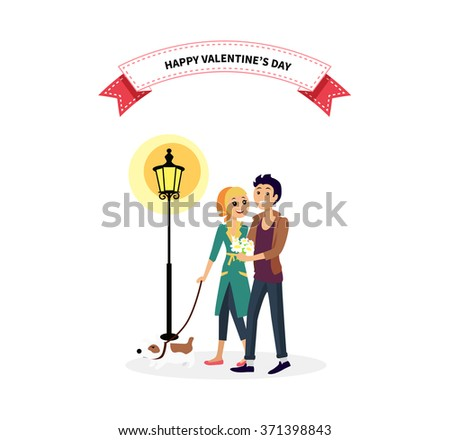 Happy valentine day couple walk with dog. Man woman couple with dog, valentines day, couple in love, happy valentine, happy couple, young couple, love people, romantic couple with pet illustration - stock vector
