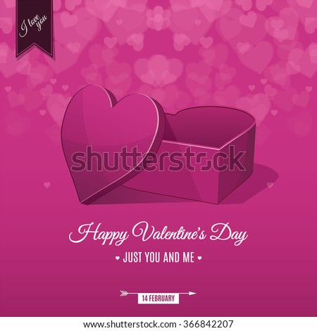 Happy Valentine's day card and open heart gift, vector background - stock vector