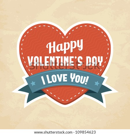 Happy Valentine's Day card. Vector illustration. - stock vector