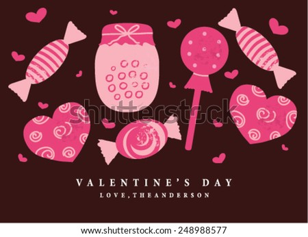 Happy Valentine's Day Card with Candies - stock vector