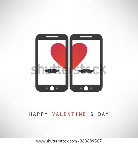 Happy Valentine's Day Card With Smart Phones - stock vector
