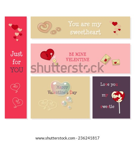 Happy Valentine's Day cards on different background. Love messages. Set of unusual design. Vector EPS10 - stock vector