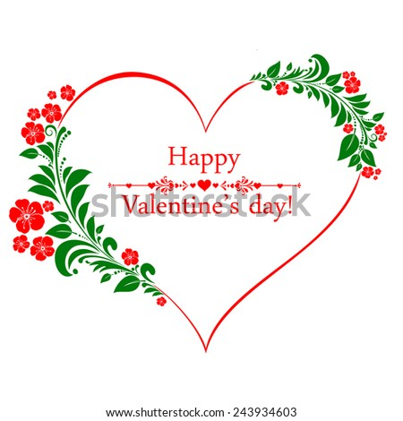 Happy Valentine's day! Celebration background with heart, flowers and place for your text. Vector Illustration  - stock vector