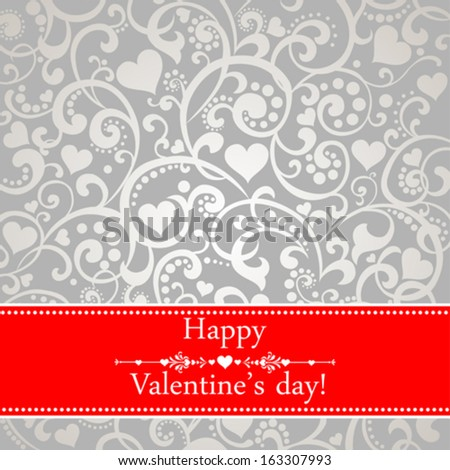 Happy Valentine's day! Celebration  background with hearts, red ribbon and place for your text. Vector Illustration  - stock vector