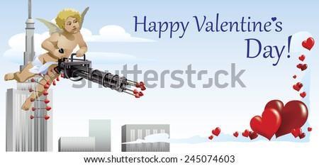Happy Valentine's Day Cupid directs the machine gun. Vector. - stock vector