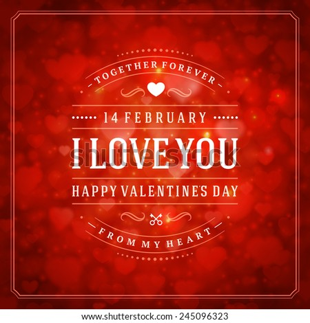 Happy Valentine's day Greeting Card and Bokeh Heart Light Vintage Vector Background - stock vector
