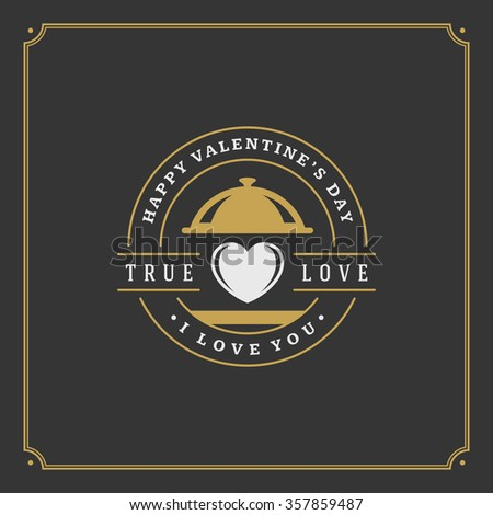 Happy Valentine's Day greeting Card or Poster and Heart vector illustration. Retro typographic design golden style on black background. Happy Valentines Day background, Valentines Card, Love Concept. - stock vector