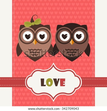 Happy Valentine's Day Greeting Card with cute Owls - stock vector