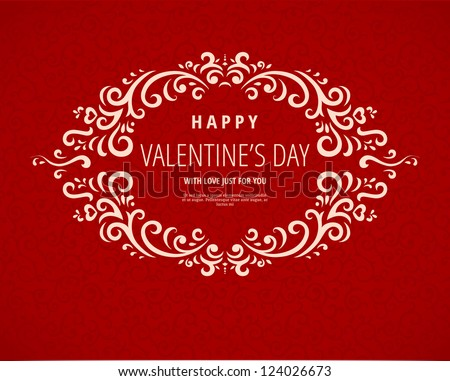 Happy Valentine's Day greeting card with frame - stock vector
