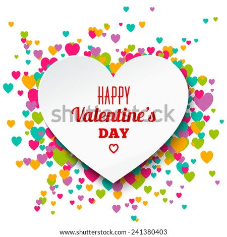 Happy Valentine's day greeting card with paper heart. Vector illustration. - stock vector