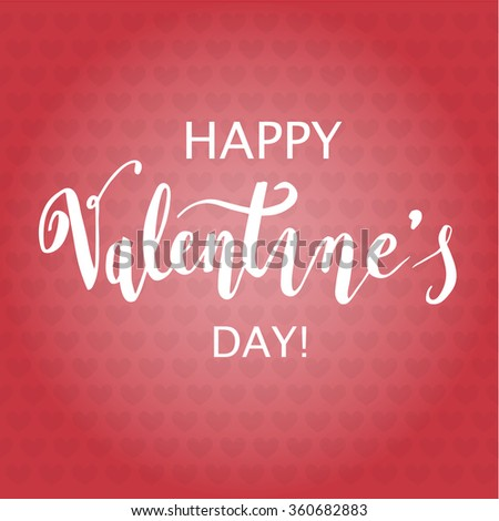 Happy Valentine s Day Hand Drawing Background With Hearts. Vector design - stock vector