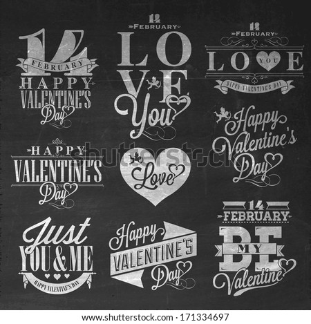 Happy Valentine's Day Hand Lettering - Typographical Background Set  On Chalkboard with ornaments, hearts, ribbon, angel and arrow - stock vector