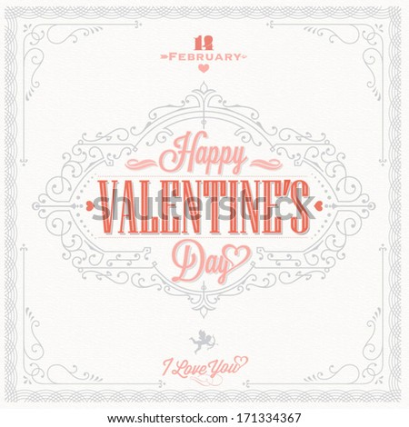 Happy Valentine's Day Hand Lettering - Typographical Background with ornaments, hearts, angel and arrow - stock vector