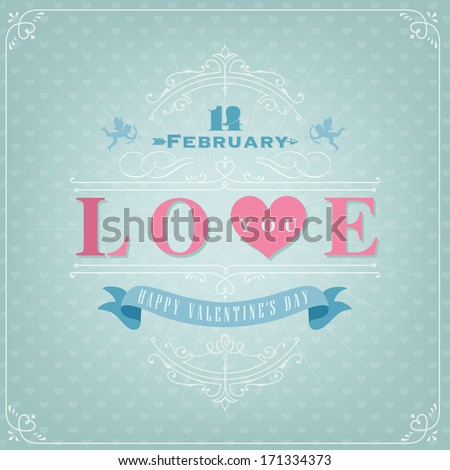 Happy Valentine's Day Hand Lettering - Typographical Background with ornaments, hearts, ribbon, angel and arrow - stock vector