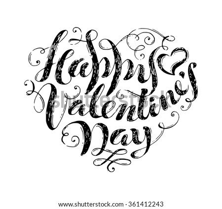 Happy Valentine's Day! Hand-written text in shape of heart. Sketch grunge pencil lettering isolated on white background. Vintage flourishes. - stock vector