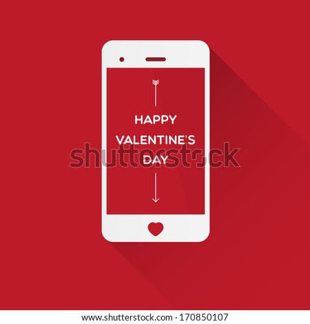 Happy Valentine's Day in smartphone on red - stock vector
