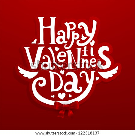 Happy Valentine's day lettering label for holiday design - stock vector