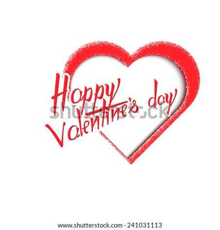 happy valentine's day, lettering on a white background - stock vector