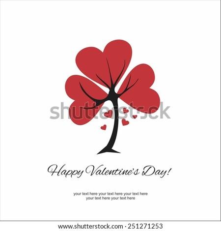 Happy Valentine's Day Love tree - stock vector