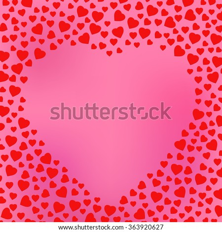 Happy Valentine's day pink wallpaper. Celebration greeting card design template decorated with heart made of small heart shapes. Negative space heart frame. Vector Blurred Soft Background. - stock vector