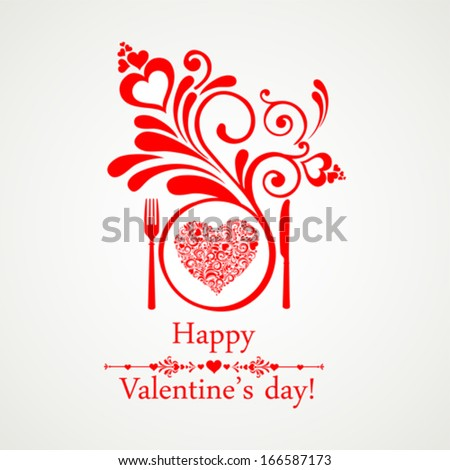 Happy Valentine's Day. Restaurant Menu Card Design. Menu Template on Valentine`s Day. Vector illustration  - stock vector