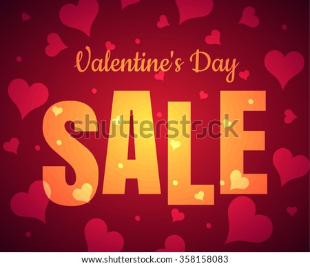 Happy Valentine's Day sale card glowing gold yellow text with red realistic banner with heart it a red pink background. Vector illustration EPS 10 - stock vector