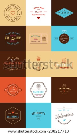 Happy Valentine's Day. Trendy Retro Vintage Insignias  - stock vector