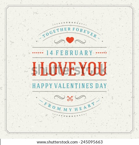 Happy Valentine's Day Vintage Greetings Card Design.  Textured paper vector background and retro typography. - stock vector