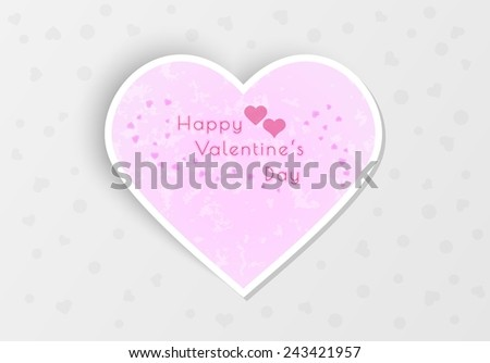 happy valentine's day with hearts on gray background - stock vector