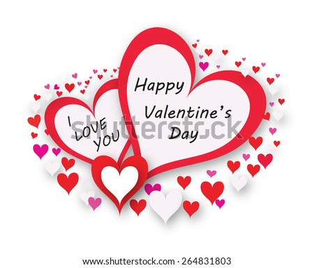Happy valentines card with heart, illustration - stock vector