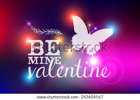 Happy Valentines Day abstract blurred background illustration with defocused colorful lights and vintage label. Ideal for greeting card, poster and cover design . EPS10 vector file. - stock vector