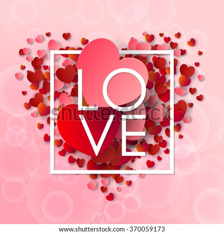 Happy valentines day and weeding background. Vector illustration. Design elements pink and red Hearts. Love - stock vector