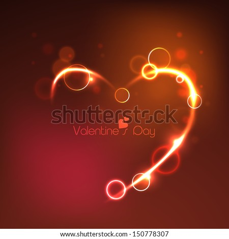 Happy Valentines Day background with shiny heart.  - stock vector