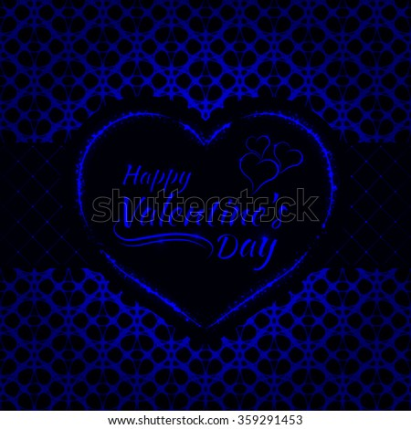 Happy Valentines day blue lights card, heart and text lights design on dark background - stock vector
