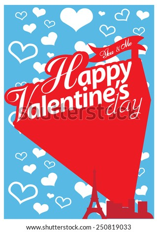 Happy valentines day card - stock vector