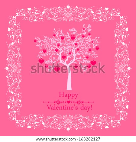 Happy valentines day card. Celebration pink background with hearts, tree and place for your text. Vector Illustration  Vector Illustration - stock vector