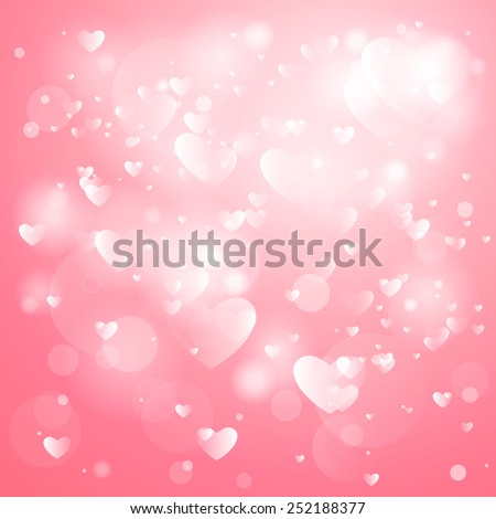 Happy Valentines Day Card Design. 14 February.Herrt Blurred Soft Background. - stock vector