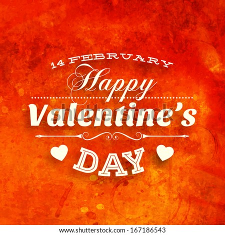 Happy Valentines Day Card Design. 14 February. I Love You. Vector Vintage Background. - stock vector
