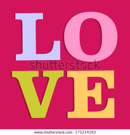 Happy Valentines day card, i love you, font type - stock vector