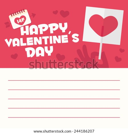 Happy Valentines day card letter. Hand with heart shaped lollipop - stock vector