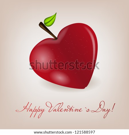 Happy Valentines Day card with apple heart. Vector illustration - stock vector