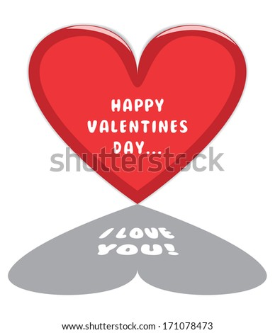 """Happy Valentines Day Card with Big Red Heart and """"I Love You"""" Text inside it's shadow. - stock vector"""