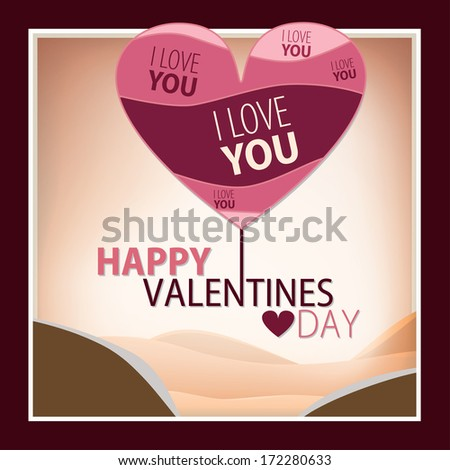 Happy Valentines Day Card with Heart in various pink tones. Beautifully framed simple composition with golden sandy mountains. Warm feeling overall. - stock vector