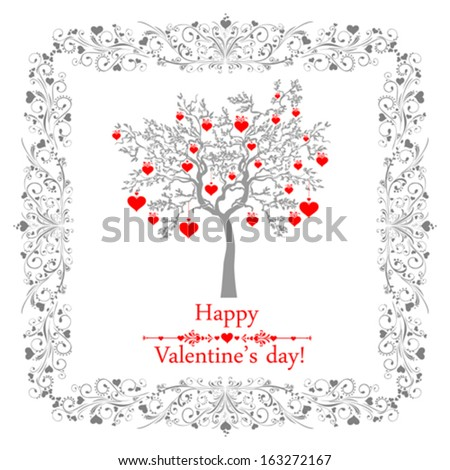 Happy valentines day card with ornaments, hearts and tree. Vector Illustration - stock vector