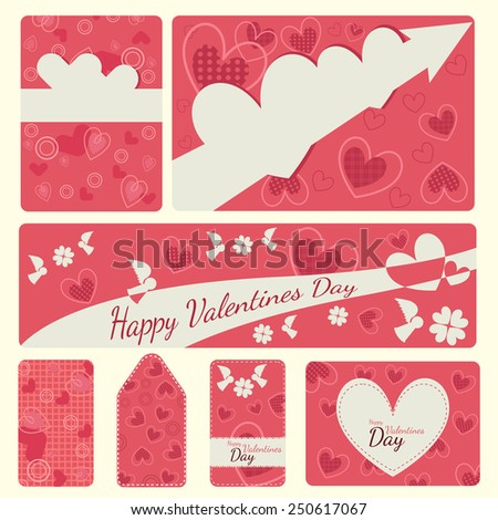 Happy valentines day cards - stock vector