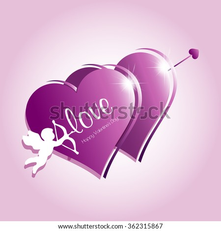 Happy valentines day cards / Valentine's Day / Valentines heart / Vector illustration / sweet cupid - greetings card for Valentines day - stock vector