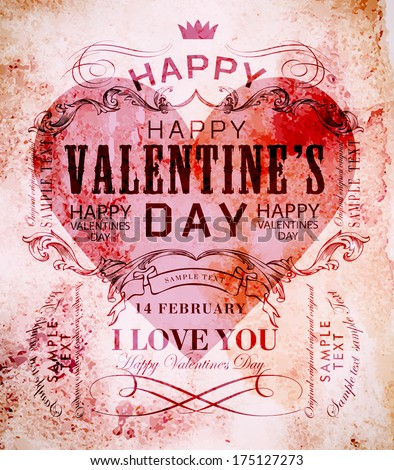 happy valentines day cards with  hearts - stock vector