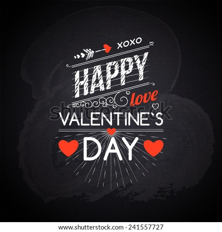 Happy Valentines day cards with hearts, ribbon and chalkboard texture. vector - stock vector