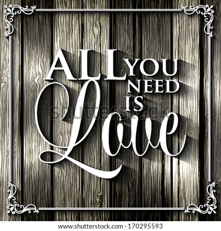 Happy valentines day cards with ornaments, / All you need is love. Happy Valentine's Day Hand Lettering - Typographical Background - stock vector